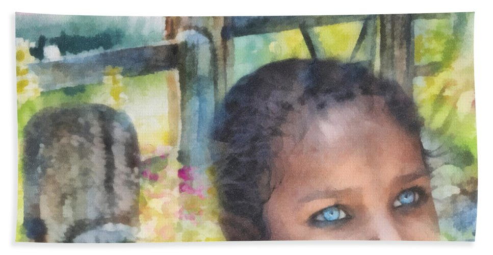 Hope Beach Towel featuring the painting Hope by Mo T