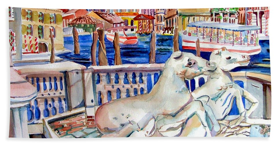 Horses Beach Towel featuring the painting Horses On The Grand Canal Of Venice by Mindy Newman