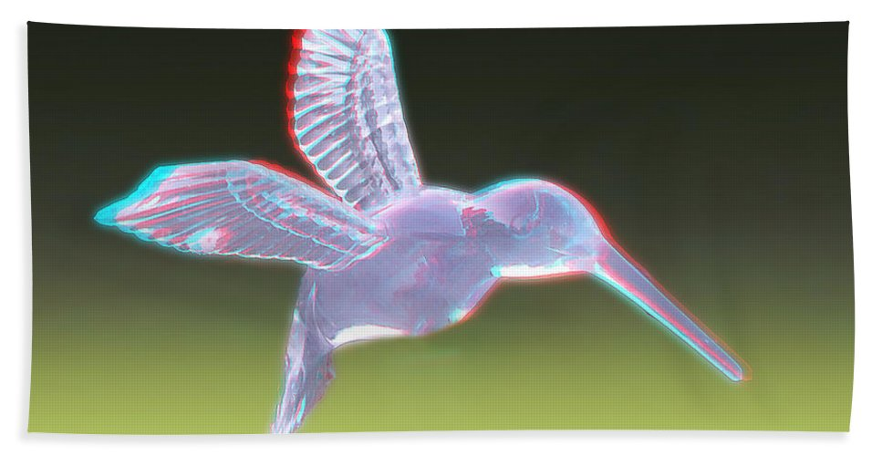3d Beach Towel featuring the photograph Hummingbird - Use Red-cyan 3d Glasses by Brian Wallace