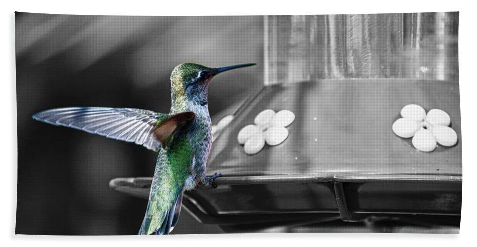 Hummingbird Beach Towel featuring the photograph Hummingbird Wings II by Linda Dunn