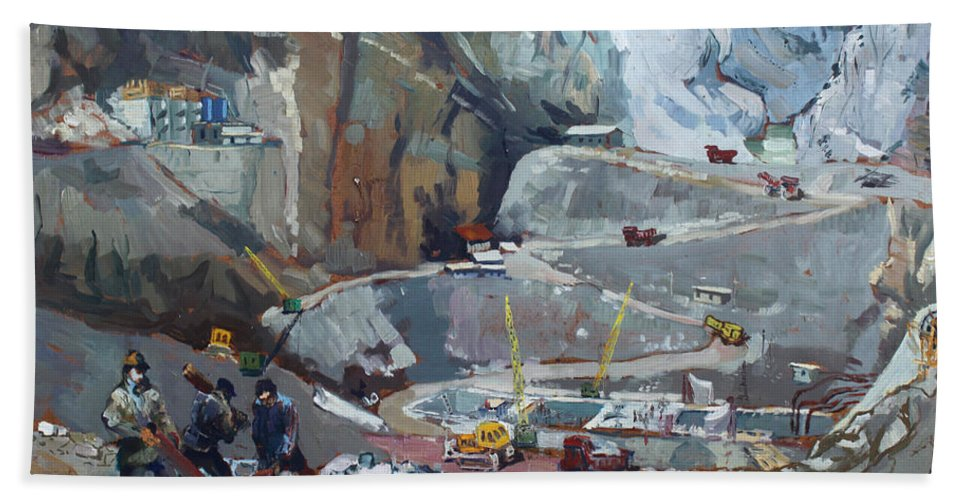 Hydropower Beach Towel featuring the painting Hydropower Koman by Ylli Haruni