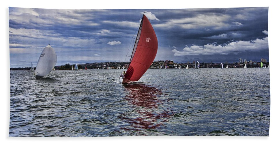 Sydney Harbor Beach Towel featuring the photograph I Am Sailing V2 by Douglas Barnard