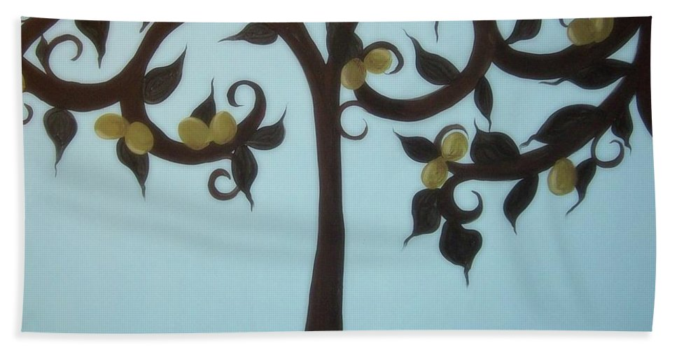 Olives Beach Towel featuring the painting I Am The Vine by Katie Slaby