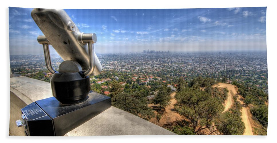 Los Angeles Beach Towel featuring the photograph I Can See La by Jessica Velasco