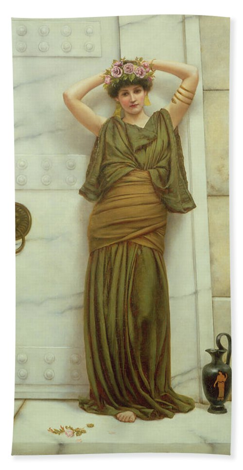 Ianthe Beach Towel featuring the painting Ianthe by John William Godward