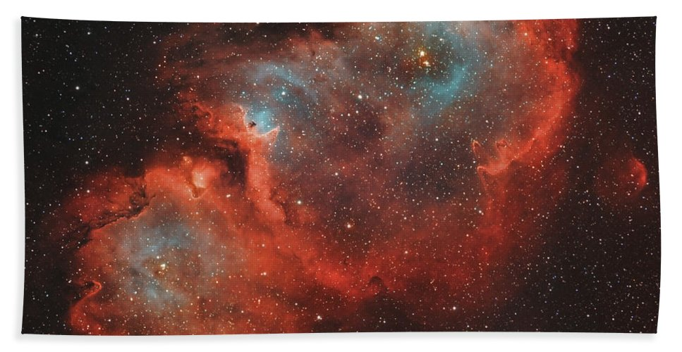 No People Beach Towel featuring the photograph Ic 1848, The Soul Nebula by Rolf Geissinger