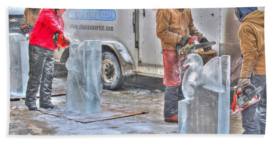 Beach Towel featuring the photograph Ice Sculptures Coming About by Michael Frank Jr