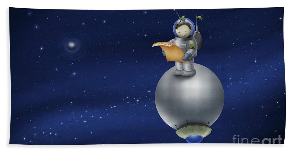 Space Beach Towel featuring the digital art Illustration Of A Cartoon Astronaut by Vlad Gerasimov