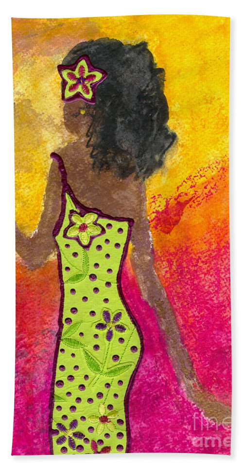 Acrylic Beach Towel featuring the mixed media I'm Outta Here by Angela L Walker