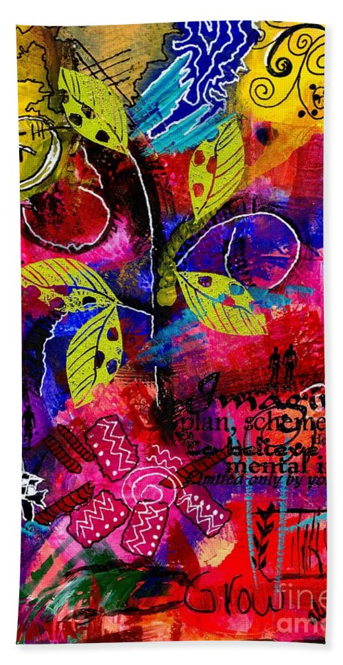 Acrylic Beach Towel featuring the mixed media Imagine Bliss by Angela L Walker