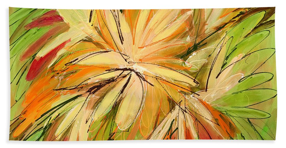 Abstract Beach Towel featuring the painting In The Moment by Lynne Taetzsch
