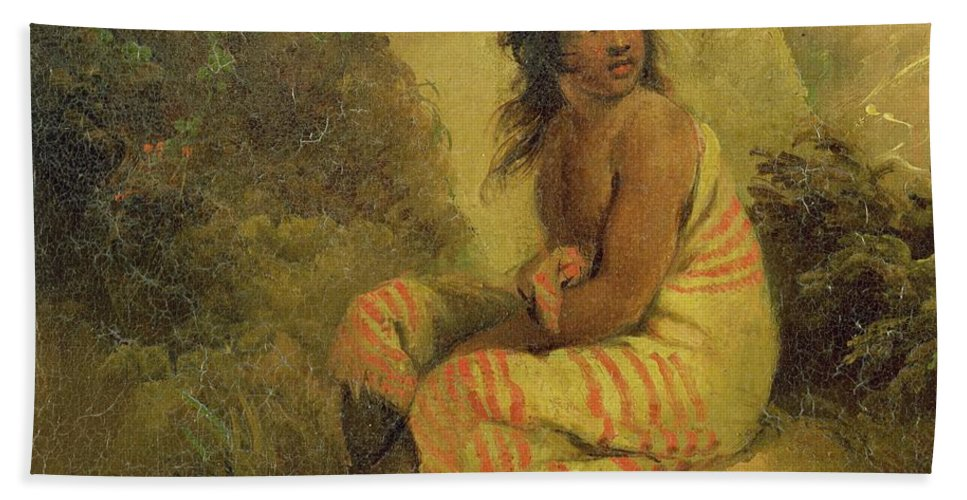 Xyc232011 Beach Towel featuring the photograph Indian Girl by George Morland