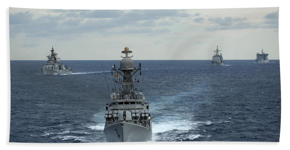 Horizontal Beach Towel featuring the photograph Indian Navy Corvette Ship Ins Kulish by Stocktrek Images