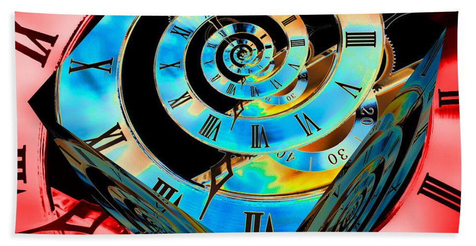 Clock Beach Towel featuring the photograph Infinity Time Cube Blue On Red by Steve Purnell