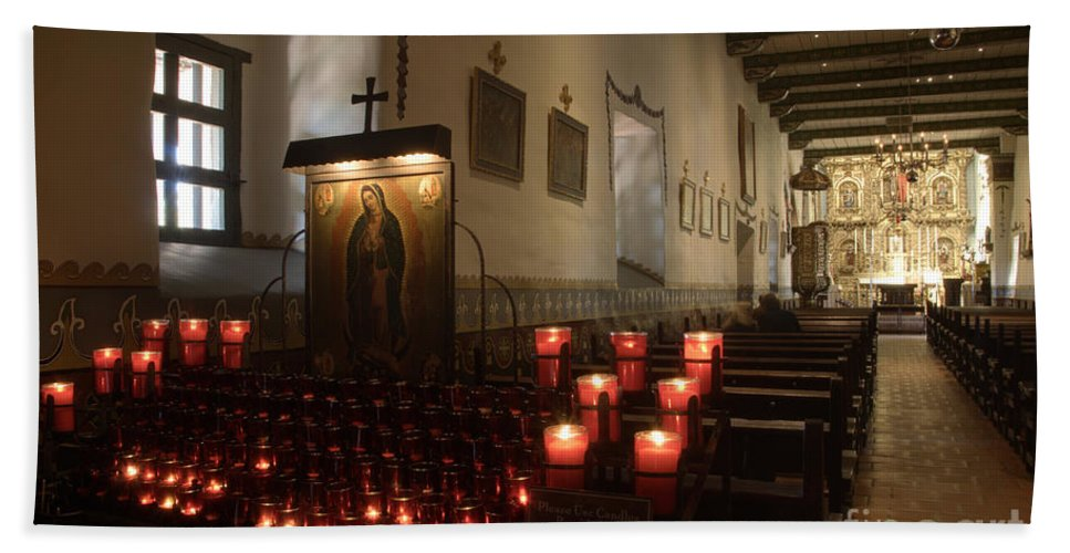 Architecture Beach Towel featuring the photograph Interior Old Mission by Bob Christopher