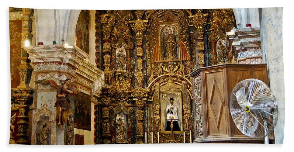 San Xavier De Bac Mission Beach Towel featuring the photograph Interior San Xavier Mission by Jon Berghoff