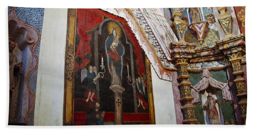 San Xavier De Bac Mission Beach Towel featuring the photograph Interior Wall San Xavier Del Bac Mission by Jon Berghoff