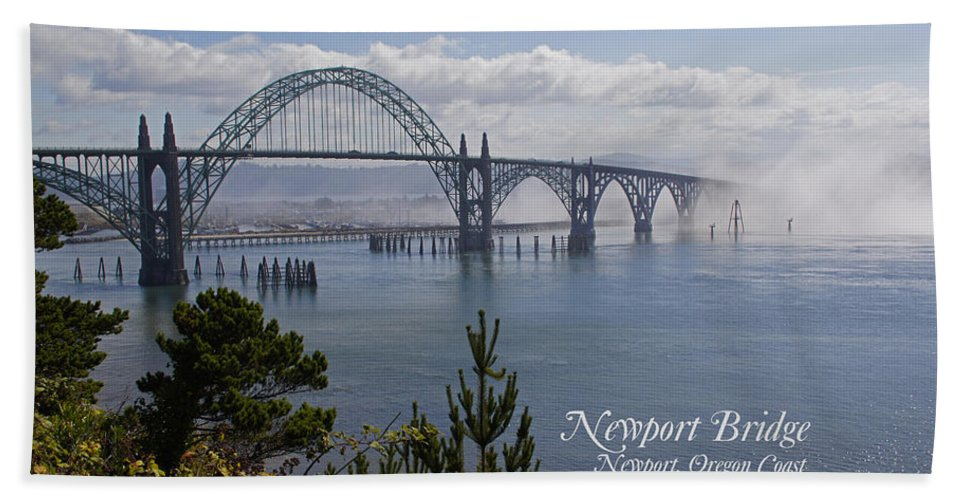 Newport Beach Towel featuring the photograph Into The Fog At Newport With Text by Mick Anderson
