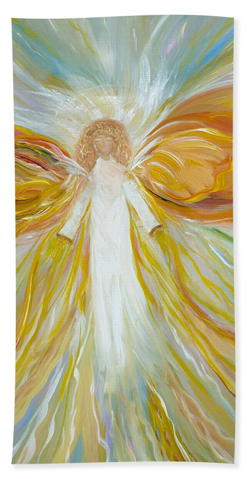 Angel Beach Towel featuring the painting Into The Light by Sara Credito