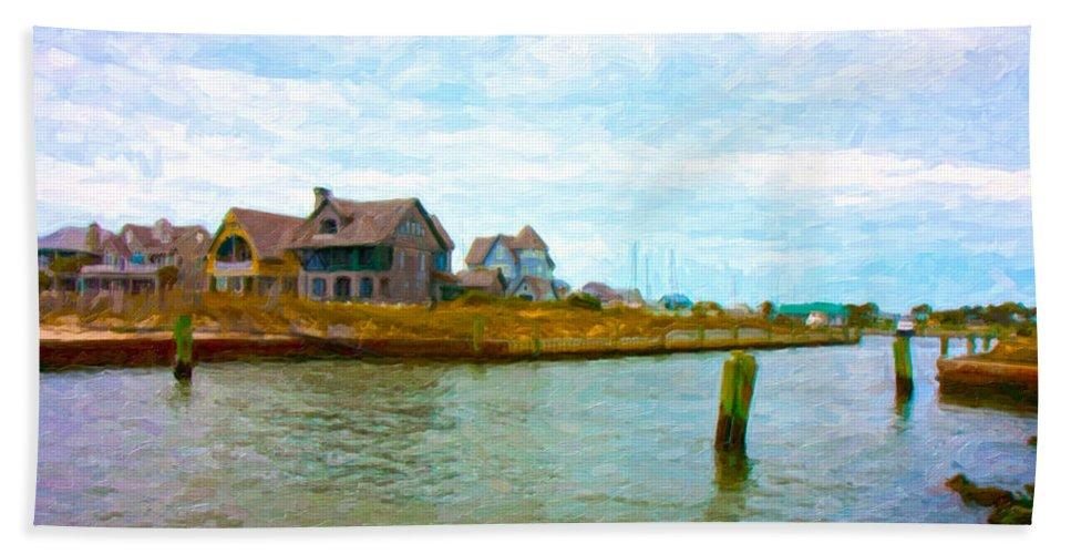 Bald Beach Towel featuring the digital art Into The Marina by Betsy Knapp
