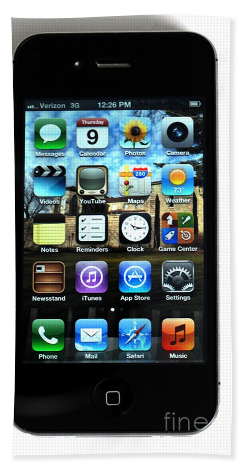 App Beach Towel featuring the photograph Iphone by Photo Researchers