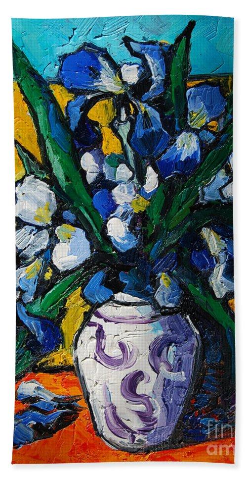 Irises Beach Towel featuring the painting Irises by Mona Edulesco