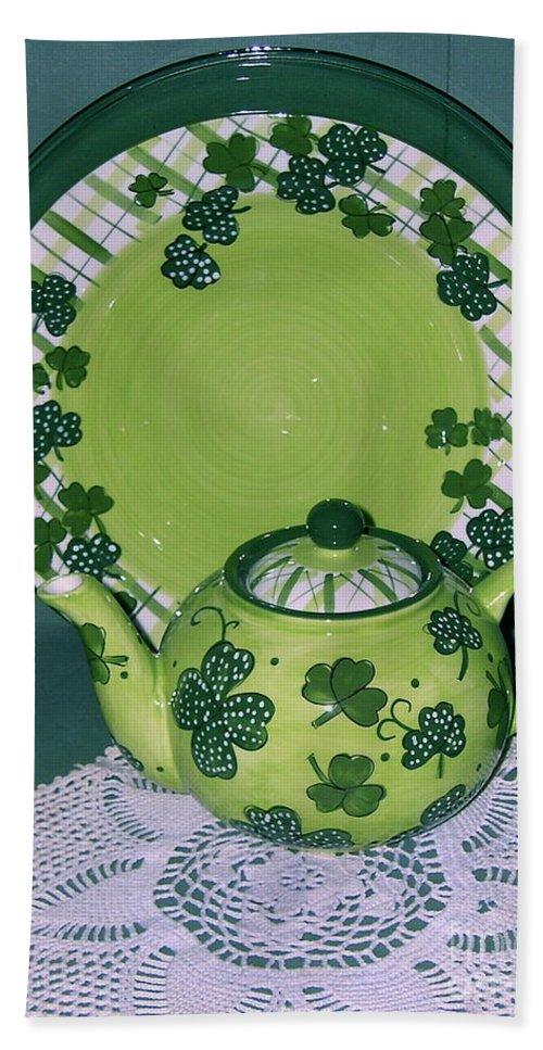 Irish Tea Pot Beach Towel featuring the photograph Irish Tea by Nancy Patterson