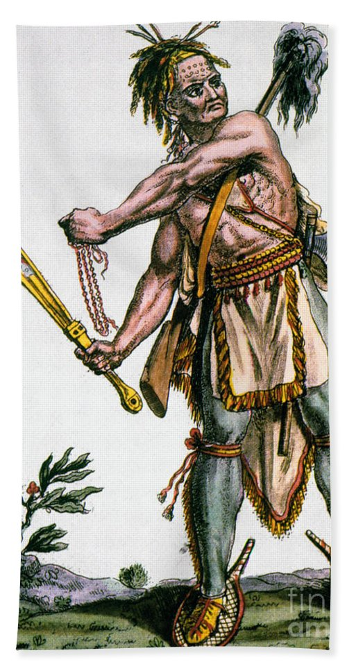 1787 Beach Towel featuring the photograph Iroquois Warrior by Granger