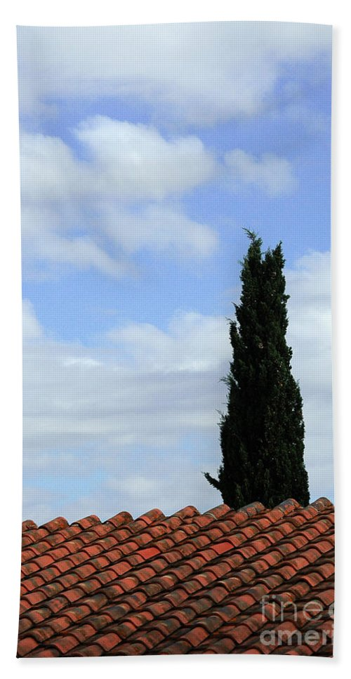 Cypress Beach Towel featuring the photograph Italian Cyress And Red Tile Roof Rome Italy by Mike Nellums