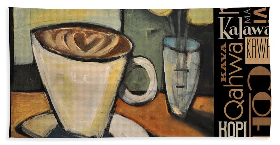 Coffee Beach Towel featuring the painting Java Coffee Languages Poster by Tim Nyberg