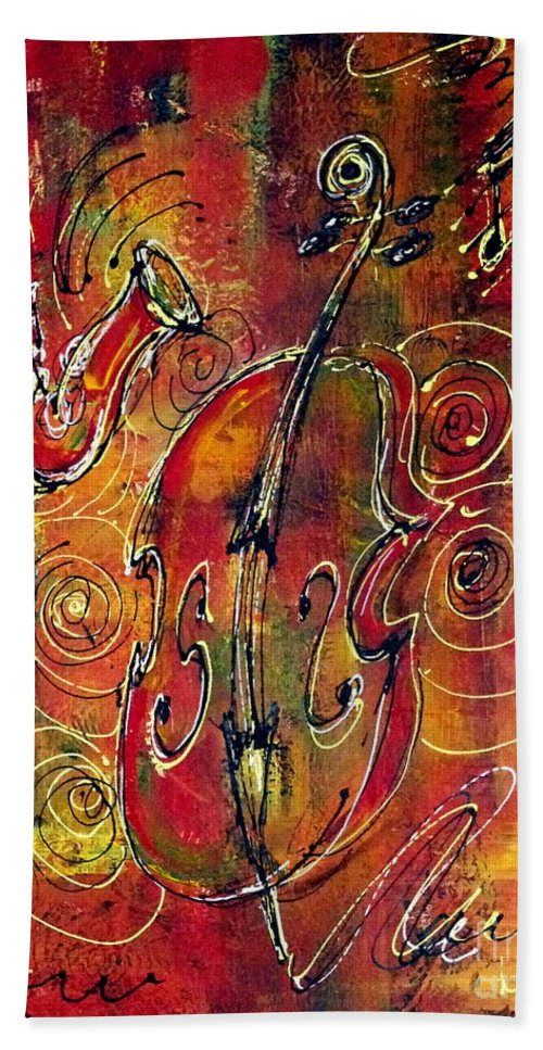 Jazz Beach Towel featuring the painting Jazz by Greg and Linda Halom
