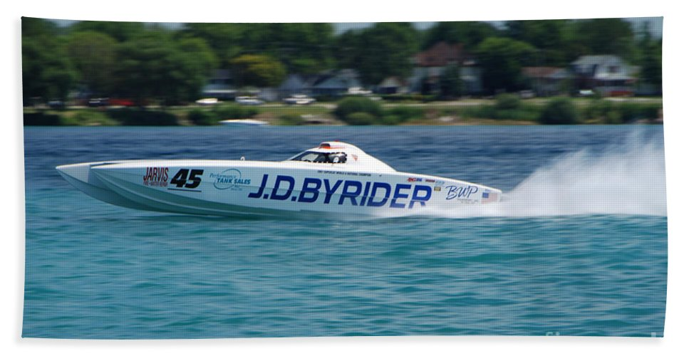 J.d. Byrider Beach Towel featuring the photograph J.d. Byrider Offshore Racing by Grace Grogan