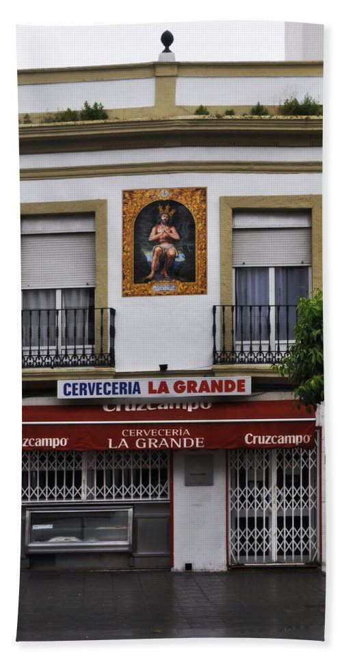 Jesus De Las Penas Beach Towel featuring the photograph Jesus And The Cerveceria by Mary Machare