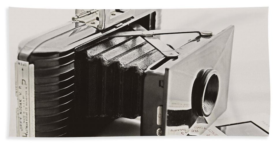 Camera Beach Towel featuring the photograph Jiffy Kodak Vp Camera by Kathleen K Parker