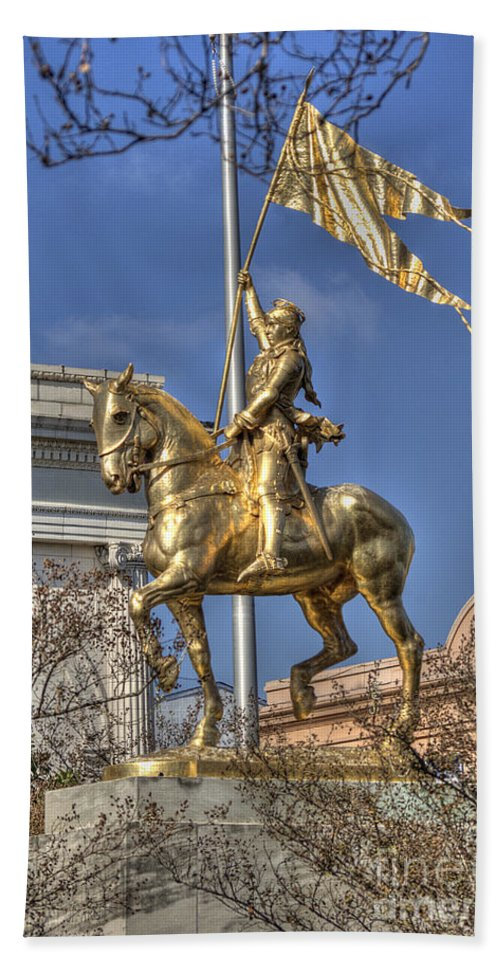 New Orleans Beach Towel featuring the photograph Joan Of Arc Statue New Orleans by Jim And Emily Bush
