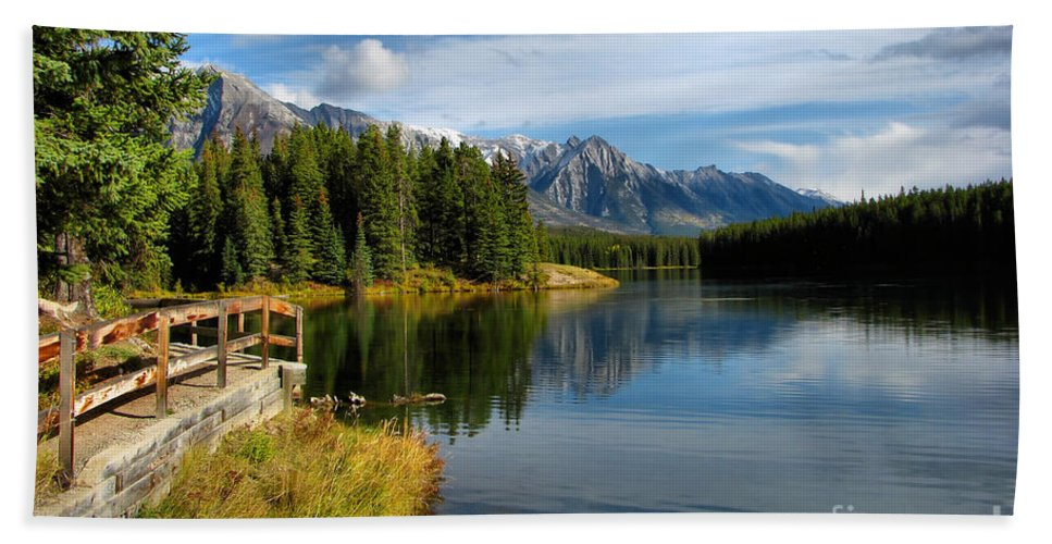 Johnson Lake Beach Towel featuring the photograph Johnson Lake by James Anderson