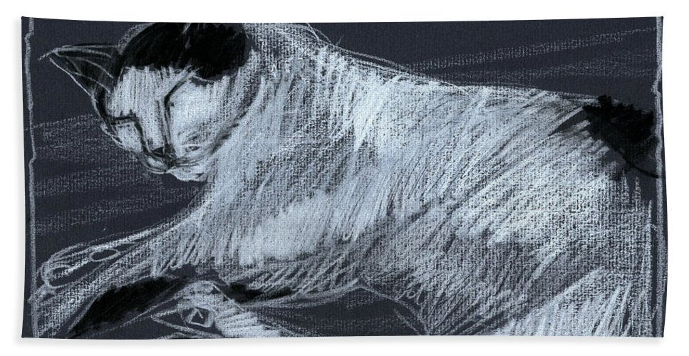 Mona Edulescu Beach Towel featuring the drawing Joujou 3 by Mona Edulesco