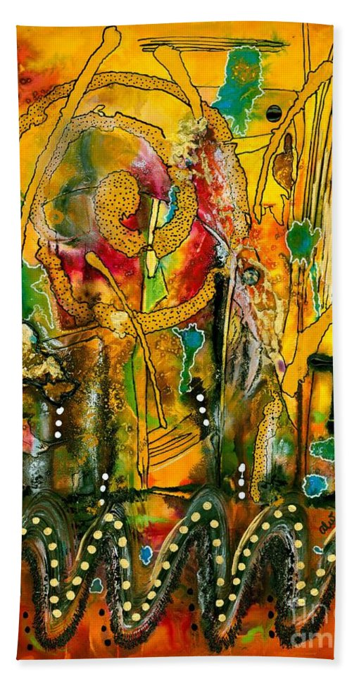 Acrylic Beach Towel featuring the mixed media Jubilation II by Angela L Walker