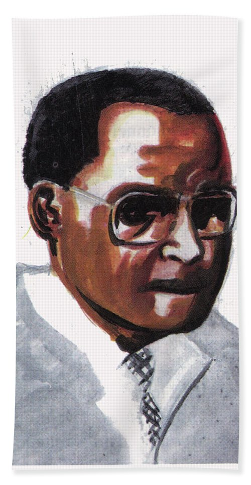 Portraits Beach Towel featuring the painting Julian Percy by Emmanuel Baliyanga