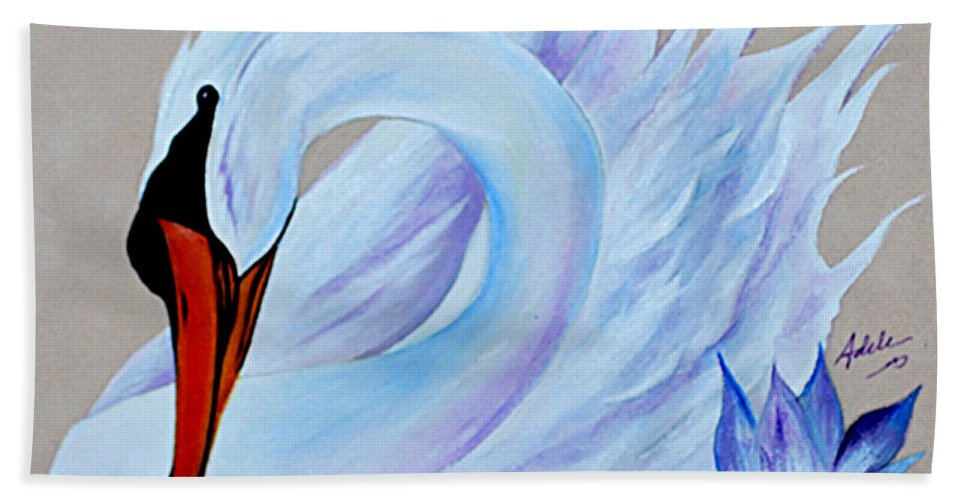 Swan Beach Towel featuring the painting Juliette by Adele Moscaritolo