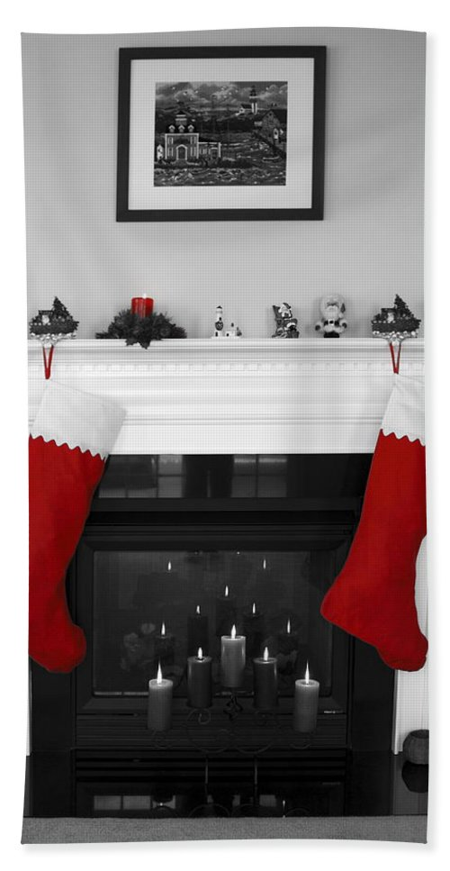 Fireplace Beach Towel featuring the photograph Jumbo Red Stockings by Sally Weigand