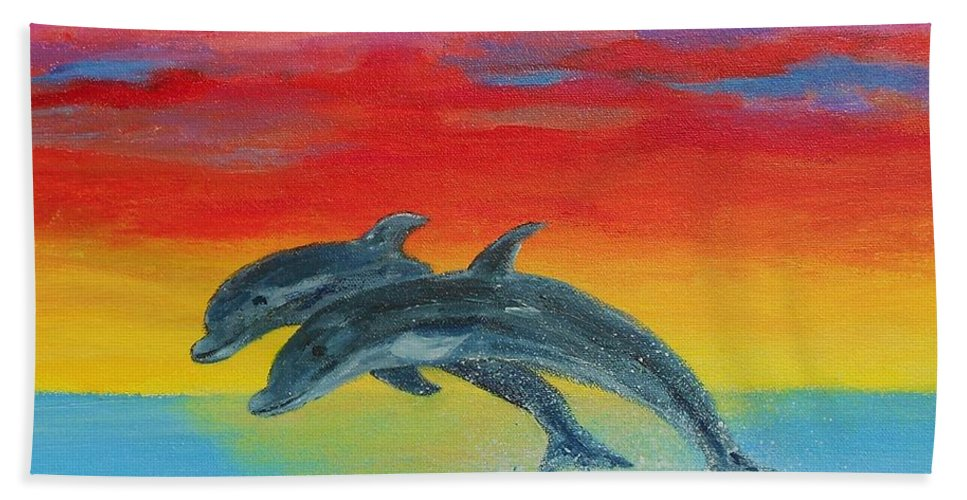 Sunset Beach Towel featuring the painting Jumping Dolphins Left by Jamie Frier