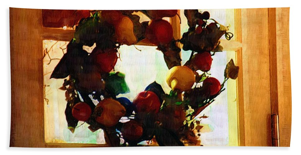 Wreath Beach Towel featuring the painting Just A Little Green by RC DeWinter