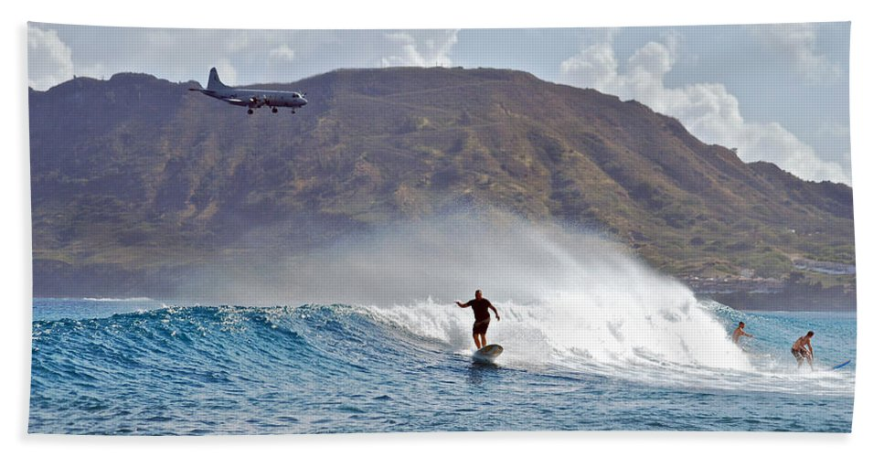 Ocean Beach Towel featuring the photograph Kaneohe Bay Sufer Mcbh by Michael Peychich