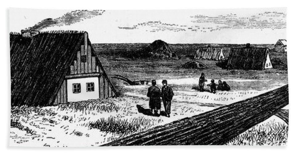 1874 Beach Towel featuring the photograph Kansas, Mennonites, C1874 by Granger