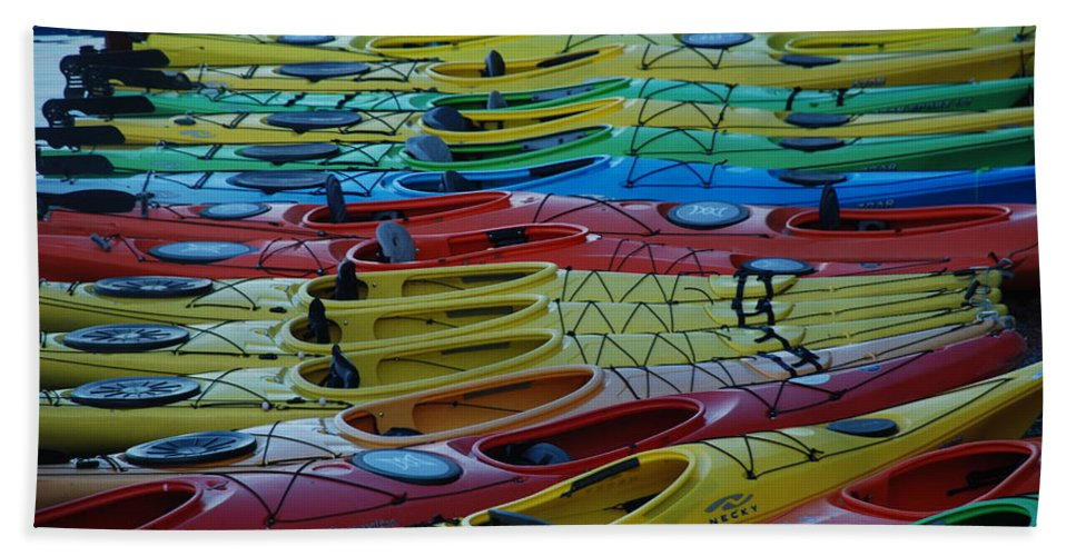 Kayak Beach Towel featuring the photograph Kayak Row by Richard Bryce and Family