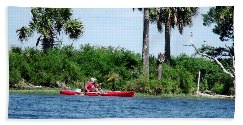 Kayak Beach Towel featuring the photograph Kayaking Along The Gulf Coast Fl. by Marilyn Holkham