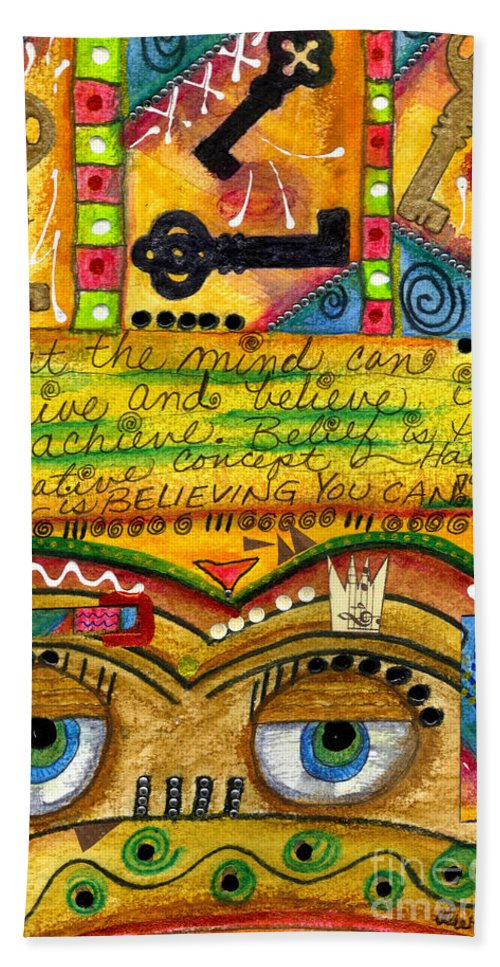 Greeting Cards Beach Towel featuring the mixed media King Of Keys by Angela L Walker