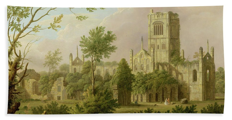Xyc174440 Beach Towel featuring the photograph Kirkstall Abbey - Yorkshire by George Lambert