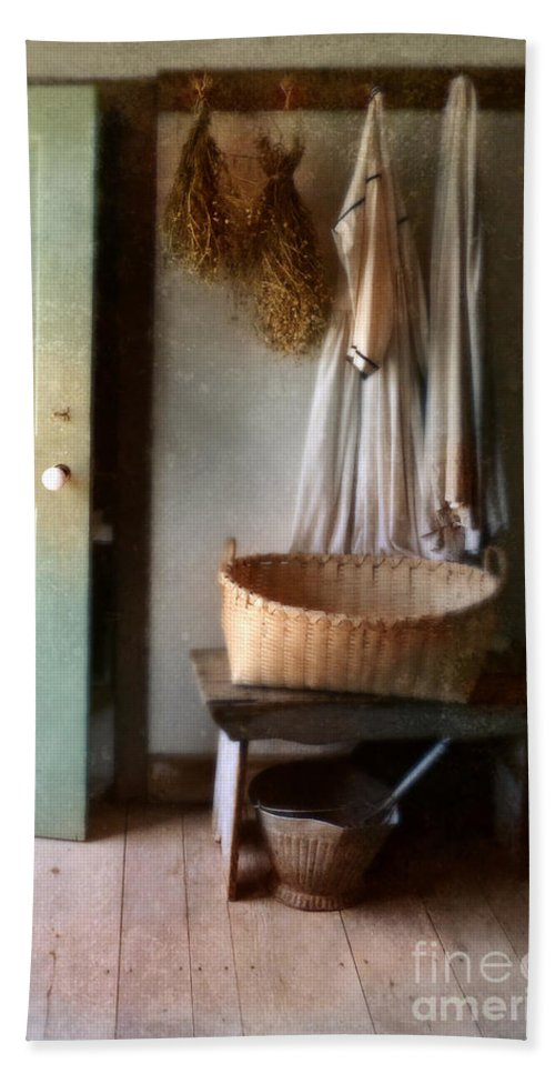 Kitchen Beach Towel featuring the photograph Kitchen Door In Old House by Jill Battaglia